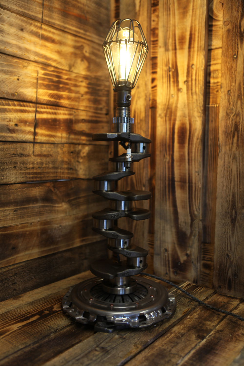 Audi Crank Shaft Metal Art Table Lamp Silly Goat Creations