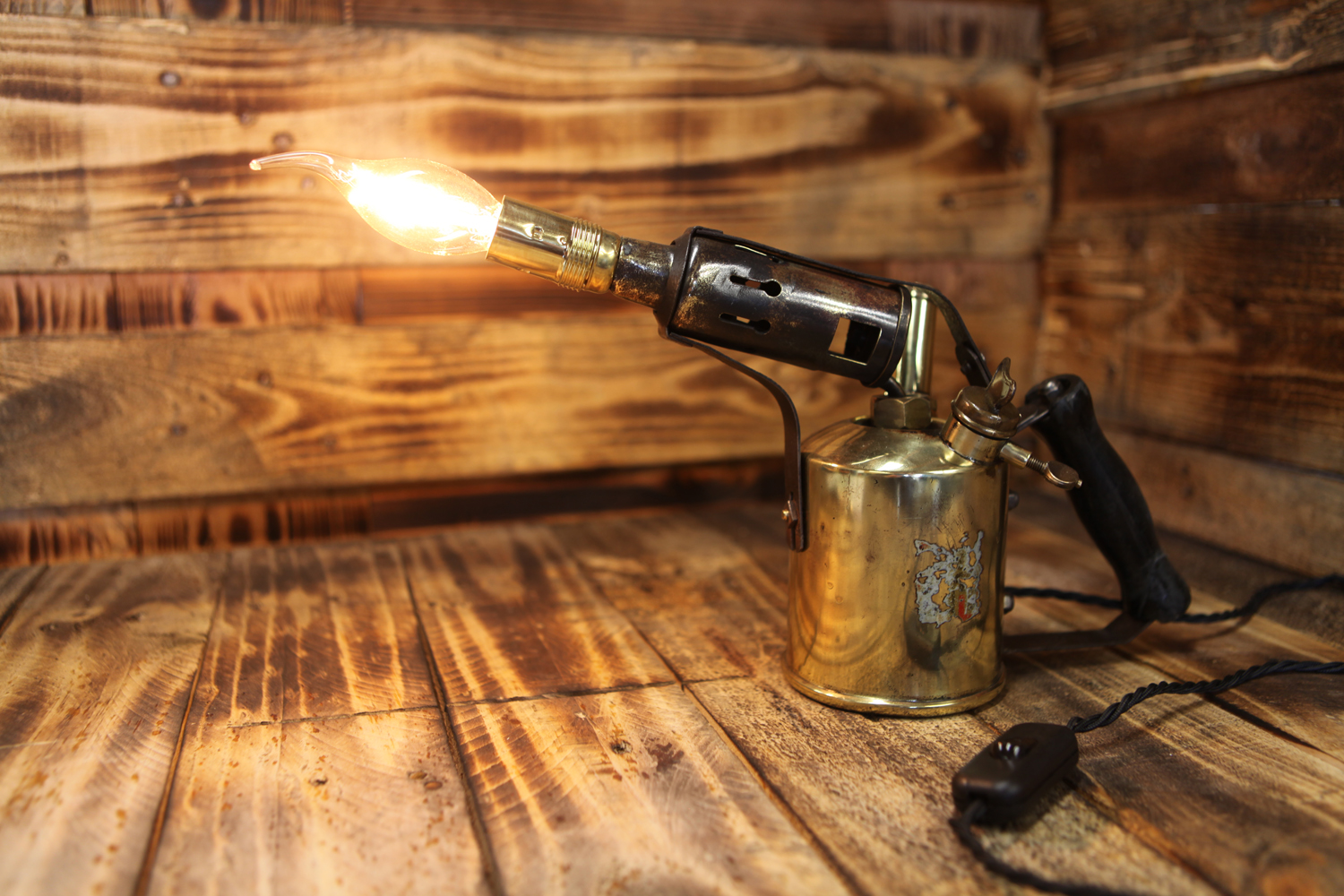 1900 S Brass Paraffin Blow Torch Table Lamp Conversion